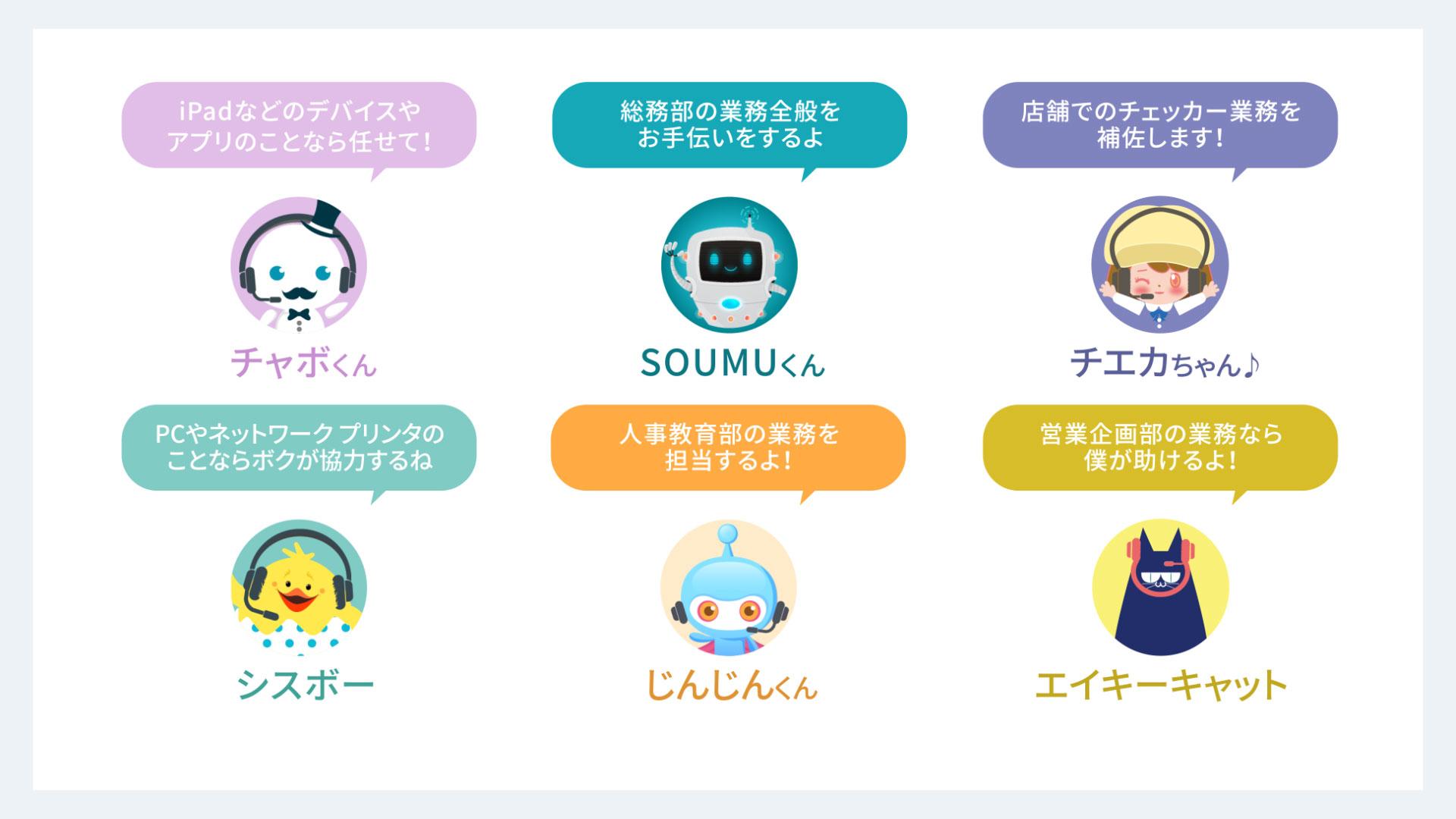 株式会社ベルク様にて活躍している6種類のボット